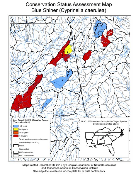 Conservation Status Assessment Map for Blue Shiner (Cyprinella caerulea)