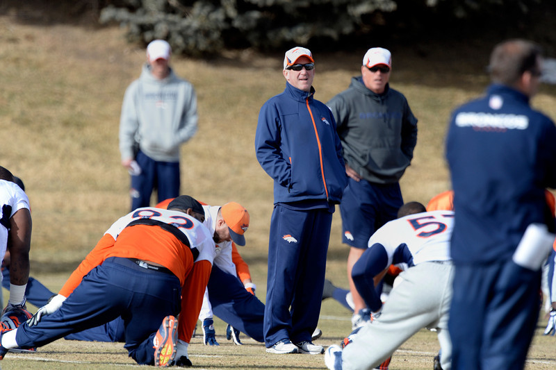 . Denver Broncos head coach John Fox looks on during practice January 16, 2014 at Dove Valley. The Denver Broncos are preparing for their AFC Championship game against the New England Patriots at Sports Authority Field.  (Photo by John Leyba/The Denver Post)