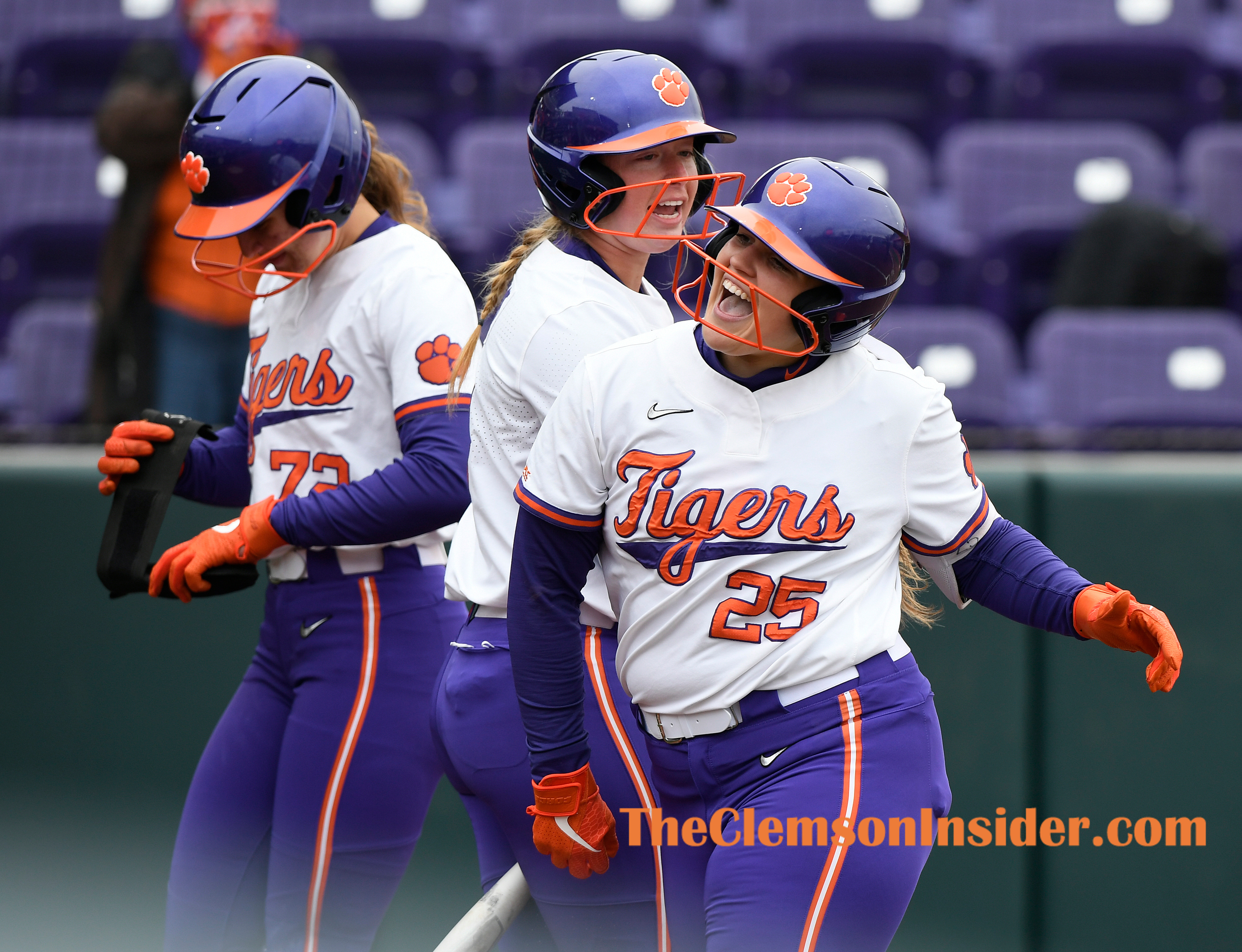 Clemson's Marissa Guimbarda (25) celebrates as she crosses home plate after hitting a two run home run against Virginia Tech during the Tigers home opener Thursday, February 18, 2021 at Clemson's McWhorter Stadium. Bart Boatwright/The Clemson Insider
