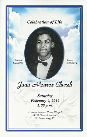 HISTORIC JORDAN PARK HOUSING PROJECTS' OWN JUAN MONROE CHURCH HOMEGOING MEMORIAL SERVICE - FEB. 9, 2019  GIBBS H.S. GLADIATOR CLASS OF '68