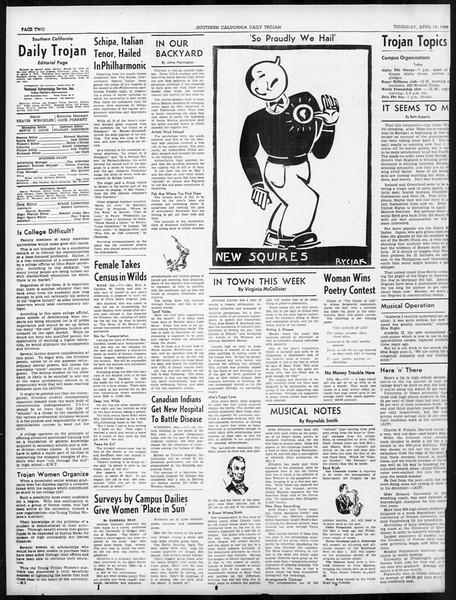 Daily Trojan, Vol. 31, No. 127, April 18, 1940