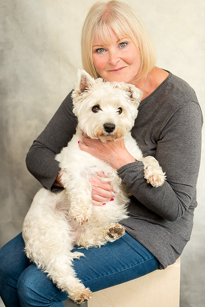 Portrait:  Lady and West Highland white dog