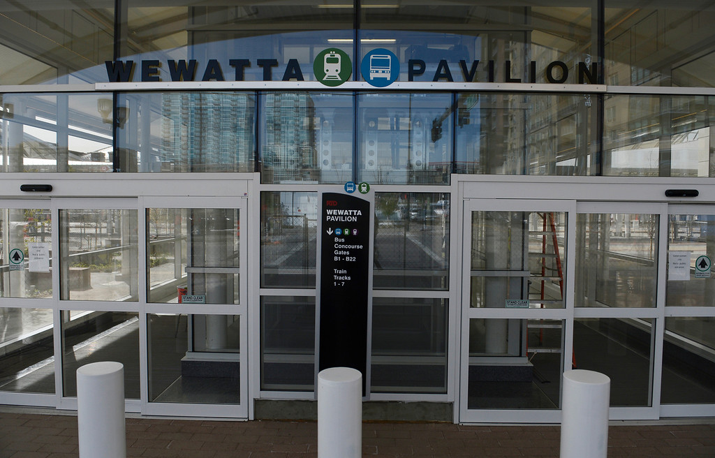 . DENVER, CO. - APRIL 25: The Wewatta Pavilion, one of three main entrances to the new RTD Underground Bus Concourse at the Union Station Transit Center scheduled to open May 11, 2014. (Photo By Andy Cross / The Denver Post)