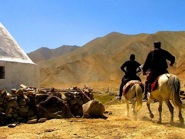 Kyrgyz people likes horseback riding.