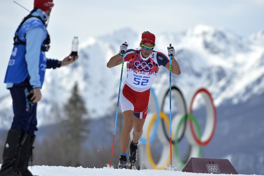 . Norway\'s Chris Andre Jespersen competes in the Men\'s Cross-Country Skiing 15km Classic at the Laura Cross-Country Ski and Biathlon Center during the Sochi Winter Olympics on February 14, 2014 in Rosa Khutor near Sochi. The tough men\'s 15 km classic time trial saw apparel not usually associated with skiing, with many competitors wearing just T-shirts instead of the normal long-sleeves while others even bared their legs.  AFP PHOTO / ODD ANDERSEN/AFP/Getty Images