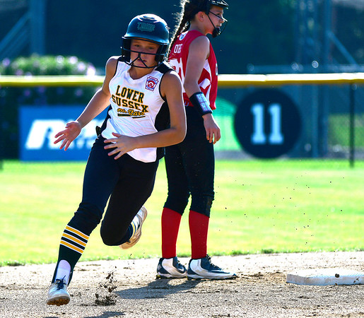 7/26/2018 Mike Orazzi | Staff Delaware's Kinsley Hall (54) during the Little League Eastern Regional Softball Tournament at Breen Field in Bristol Thursday.