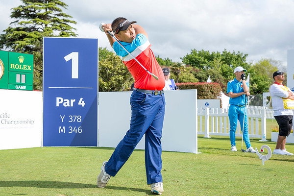 Seng Vaseiha from Cambodia hitting off the 1st tee on Day 1 of competition in the Asia-Pacific Amateur Championship tournament 2017 held at Royal Wellington Golf Club, in Heretaunga, Upper Hutt, New Zealand from 26 - 29 October 2017. Copyright John Mathews 2017.   www.megasportmedia.co.nz