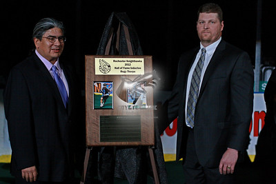 2/18/2012 - Regy Thorpe & Pat Cougevan Rochester Knighthawks Hall of Fame Ceremony - Blue Cross Arena, Rochester, NY