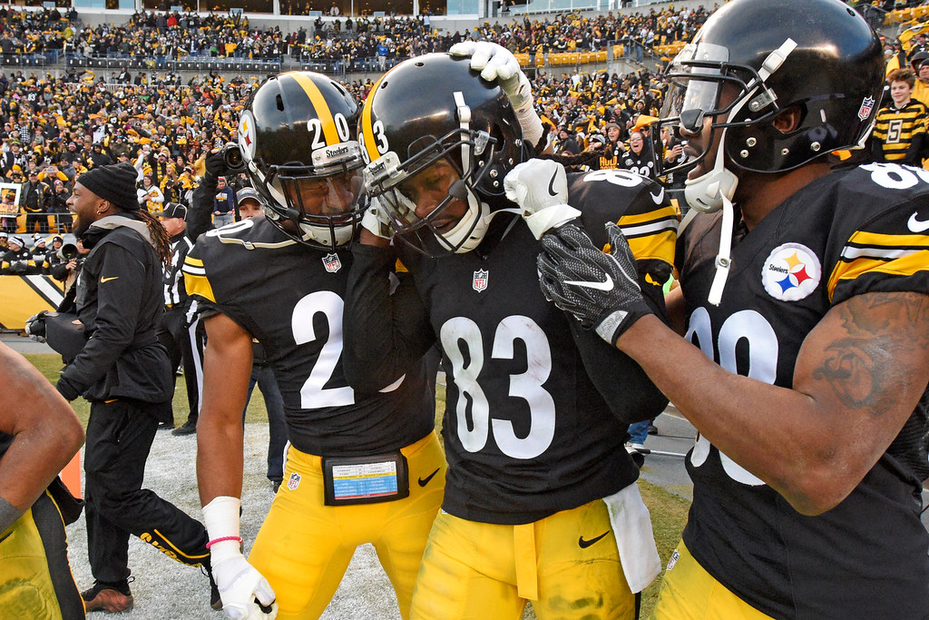 . Pittsburgh Steelers wide receiver Cobi Hamilton (83) is congratulated for his game-winning touchdown catch by teammates Al-Hajj Shabazz (20) and Darrius Heyward-Bey, right, during overtime of an NFL football game in Pittsburgh, Sunday, Jan. 1, 2017. The Steelers won 27-24. (AP Photo/Don Wright)