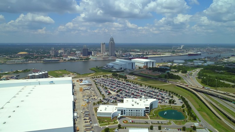 Aerial drone video footage of Mobile Alabama waterfront port district