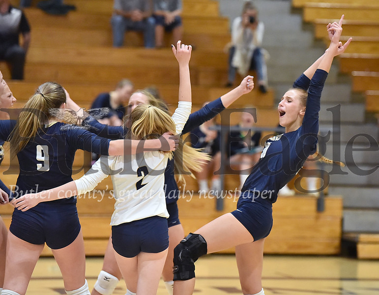 Knoch #30 Hannah Rowe celebrates with her team after getting a point against Armstrong in a  WPIAL 3A girls volleyball game at Knoch high school on Monday  September 17 , 2018..(Justin Guido photo)