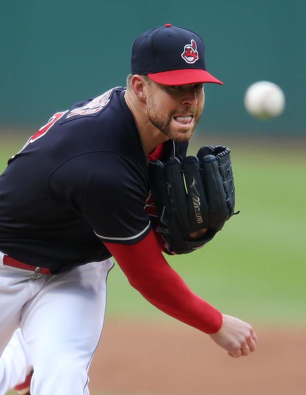 . Cleveland Indians starting pitcher Corey Kluber delivers against the Detroit Tigers during the first inning of a baseball game, Wednesday, May 4, 2016, in Cleveland. (AP Photo/Ron Schwane)