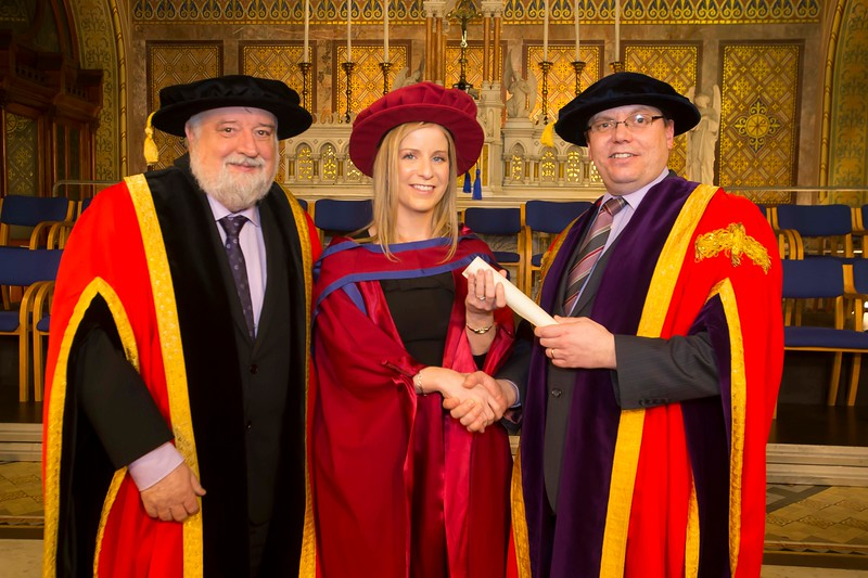 06/01/2015. FREE TO USE IMAGE. WIT (Waterford Institute of Technology) Conferring. Pictured Claire O'Gorman, Cahir, Co. Tipperary who was conferred a Doctor of Philosophy also pictured are Jack Walsh, Deputy Chairman of W.I.T and Dr. Ruaidhrí Neavyn, President WIT.  Picture: Patrick Browne