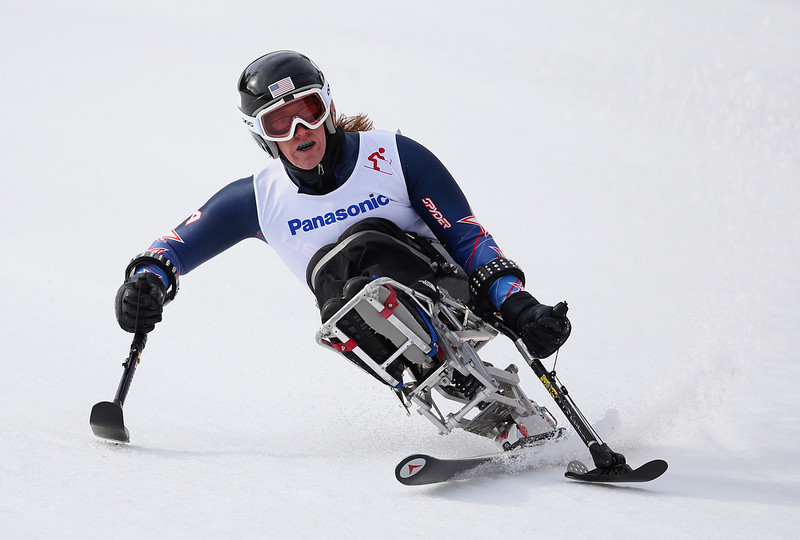 . Laurie Stephens of United States competes in the Women\'s Downhill  Sitting during day one of Sochi 2014 Paralympic Winter Games at Rosa Khutor Alpine Center on March 8, 2014 in Sochi, Russia.  (Photo by Ian Walton/Getty Images)