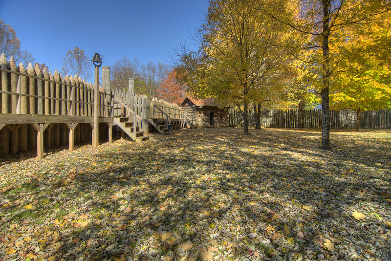 Fall colors decorate the recreation of Fort Watauga at Sycamore Shoals State Park in Elizabethton, TN on Friday, November 1, 2013. Copyright 2013 Jason Barnette