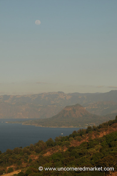 Moon, Lake and Mountains - Lake Atitlan, Guatemala
