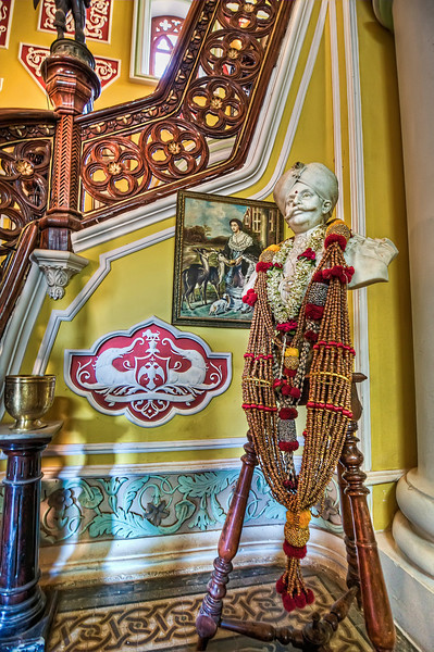 Bust of Maharaja in Foyer of Palace-Bangalore India-HDR.jpg