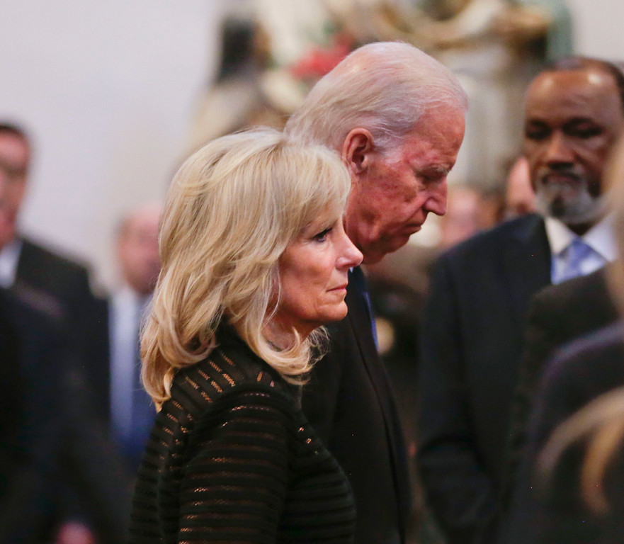 . Vice President Joe Biden and his wife Jill Biden leave funeral services for former Delaware Attorney General Beau Biden, Saturday, June 6, 2015, at St. Anthony of Padua Church in Wilmington, Del. Biden, the Vice President Biden\'s eldest son, died at the age of 46 after a battle with brain cancer. (AP Photo/Pablo Martinez Monsivais, Pool)