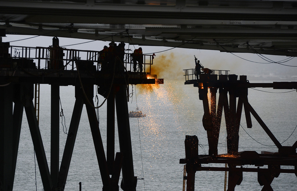 . While many of the crews working on the new Bay Bridge project Wednesday Jan. 23, 2013 are mostly male, women have been making an inroad into the business.  (Karl Mondon/Staff)