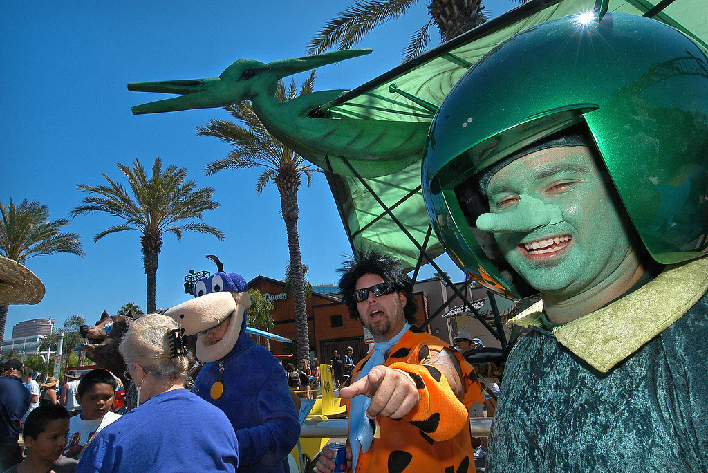 . 08/21/10:  Members of Dino\'s Danger of Aliso Viejo in the hanger prior to flight at the Red Bull Flugtag Long Beach at Rainbow Harbor on Saturday, August 21, 2010..Photo by Diandra Jay/Press-Telegram