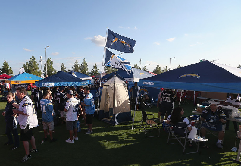 . San Diego Chargers fans tailgate before the NFL game against the Arizona Cardinals at the University of Phoenix Stadium on September 8, 2014 in Glendale, Arizona.  (Photo by Christian Petersen/Getty Images)