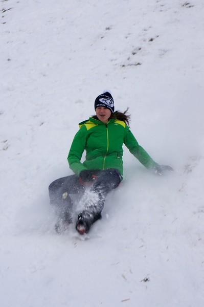 Abby enjoying the little snow that we have in Zermatt