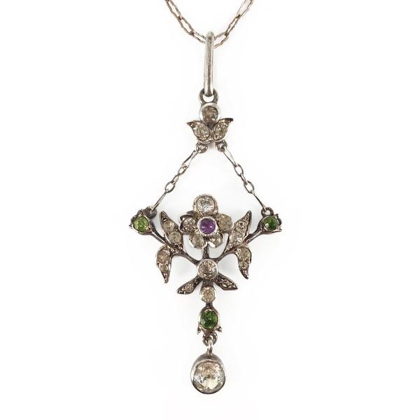 Antique Edwardian Belle Epoque Silver Amethyst Paste Pendant