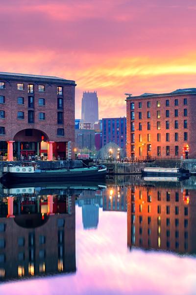Royal Albert Dock, Liverpool at sunrise