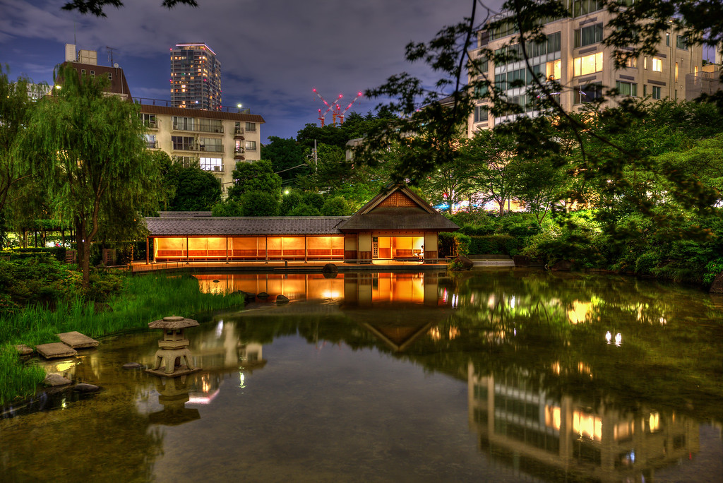 Pond at Hinokicho Park in Tokyo Midtown, Roppongi. Editorial credit: J'nel / Shutterstock.com