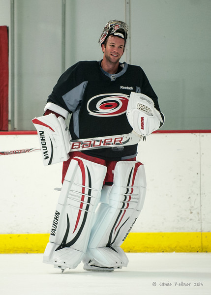 Cam Ward. August 22, 2013. Carolina Hurricanes preseason skate at Raleigh Center Ice, Raleigh, NC.  Copyright © 2013 Jamie Kellner. All rights reserved.