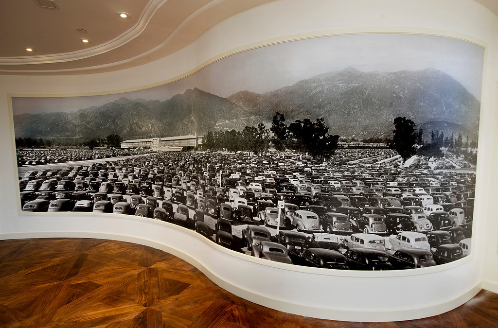 . A large curved photo of Santa Anita Park in the entry way to the Chandelier Room with a full parking lot perhaps photographed in 1948.  Santa Anita Park  opening of 2013 Autumn Meet.  Santa Anita Park opens with new renovations to the park, including a remodeled clubhouse along the mezzanine, outdoor seating, new sports bar and balcony Friday, September 27, 2013.(Walt Mancini/Pasadena Star-News)