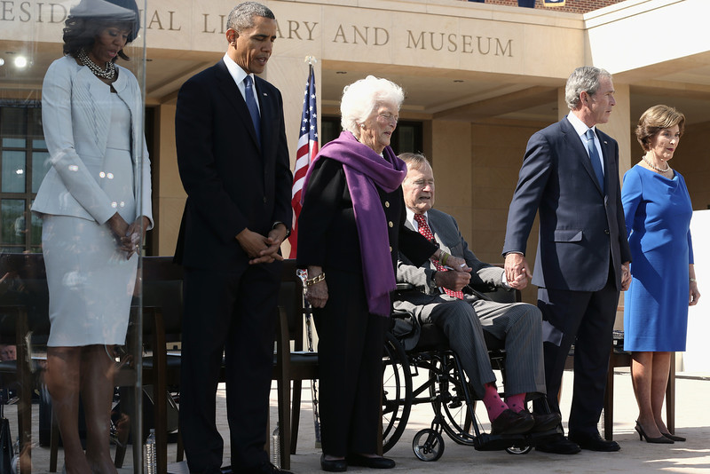 . First lady Michelle Obama, U.S. President Barack Obama, former first lady Barbara Bush, former President George H.W. Bush, former President George W. Bush and former first lady Laura Bush attend the opening ceremony of the George W. Bush Presidential Center April 25, 2013 in Dallas, Texas. The Bush library, which is located on the campus of Southern Methodist University, with more than 70 million pages of paper records, 43,000 artifacts, 200 million emails and four million digital photographs, will be opened to the public on May 1, 2013. The library is the 13th presidential library in the National Archives and Records Administration system.  (Photo by Alex Wong/Getty Images)