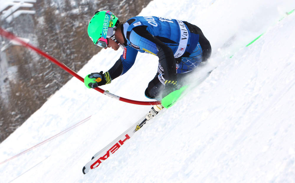 . Ted Ligety of the United States competes during the first run of an alpine ski, men\'s World Cup slalom in Val d\'Isere, France, Saturday, Dec. 8, 2012. (AP Photo/Alessandro Trovati)