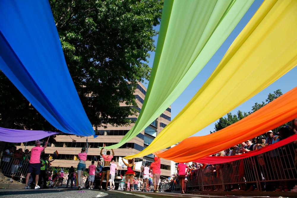. Participants carry rainbow banners during the gay-pride themed Capital Pride Parade in Washington, June 8, 2013. REUTERS/Jonathan Ernst