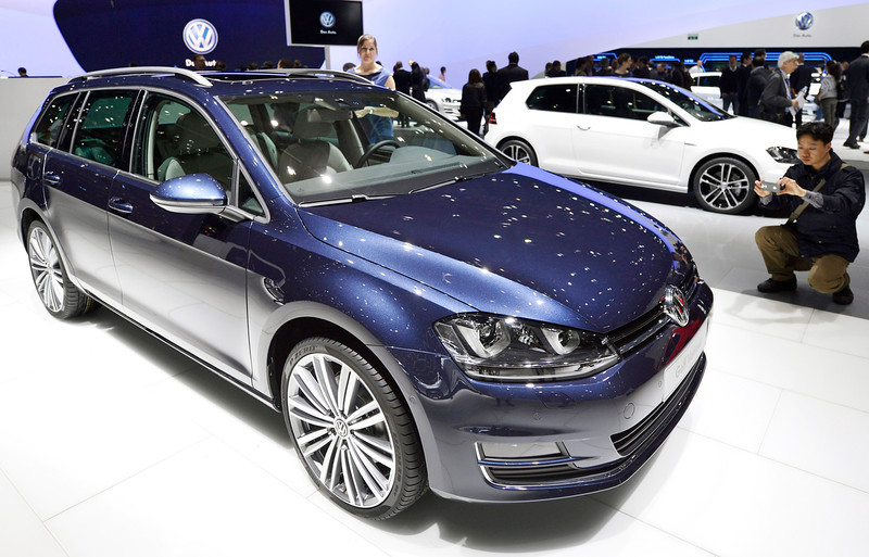 . The new Volkswagen VW Golf Variant is shown during the press day at the 83rd Geneva International Motor Show in Geneva, Switzerland, Tuesday, March 5, 2013. The Motor Show will open its gates to the public from 7th to 17th March presenting more than 260 exhibitors and more than 130 world and European premieres. (AP Photo/Keystone, Martial Trezzini)