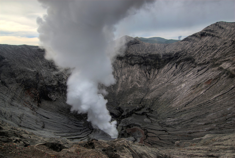 Smoke billowing out of the Mount Bromo crater in Java, Indonesia