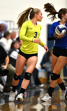 11/1/2019 Mike Orazzi | StaffrBristol Easterns Rebecca Bender (3) during Friday night's girls volleyball match with Lyman Memorial in Bristol.