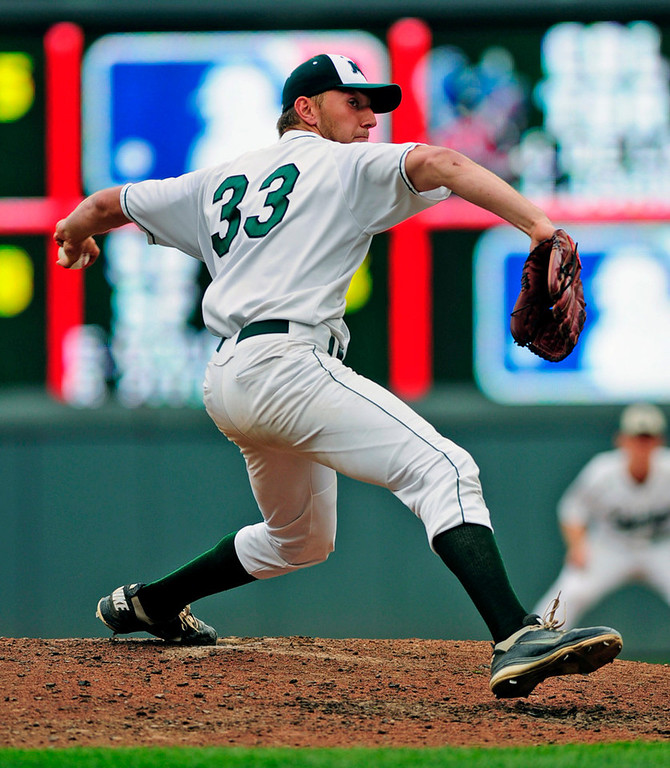 . Mounds View starter Max Knutson spread four hits over seven shutout innings to lead the Mustangs to their 8-0 win over Rocori.  (Pioneer Press: Scott Takushi)