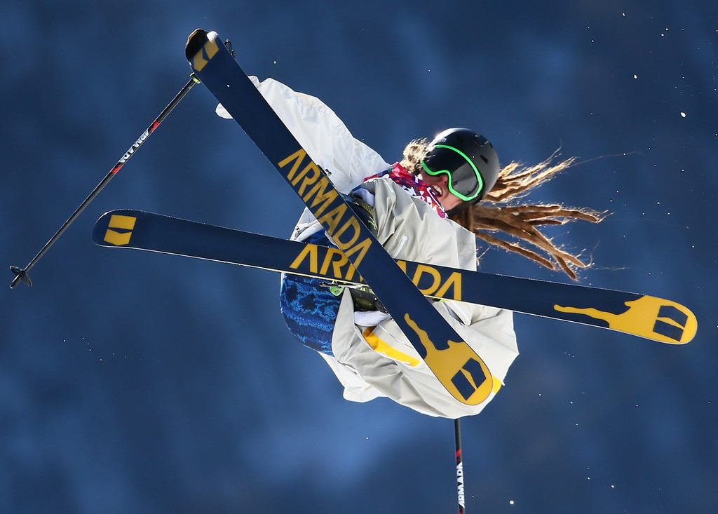 . Henrik Harlaut of Sweden in action during the Men\'s Freestyle Skiing Slopestyle qualification in the Rosa Khutor Extreme Park at the Sochi 2014 Olympic Games, Krasnaya Polyana, Russia, 13 February 2014.  EPA/Michael Kappeler