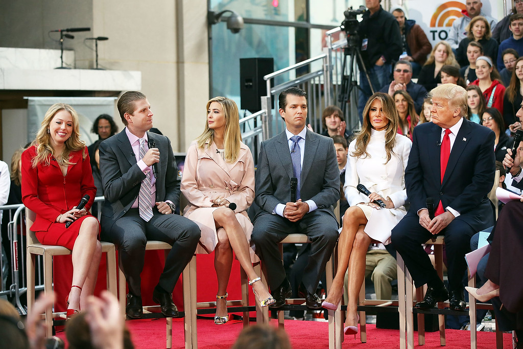. NEW YORK, NY - APRIL 21: Republican presidential candidate Donald Trump sits with his wife Melania Trump and from left: daughter Tiffany, son Eric, daughter Ivanka and son Donald Trump Jr.while appearing at an NBC Town Hall at the Today Show on April 21, 2016 in New York City.  The GOP front runner appeared with his wife and family and took questions from audience members.  (Photo by Spencer Platt/Getty Images)