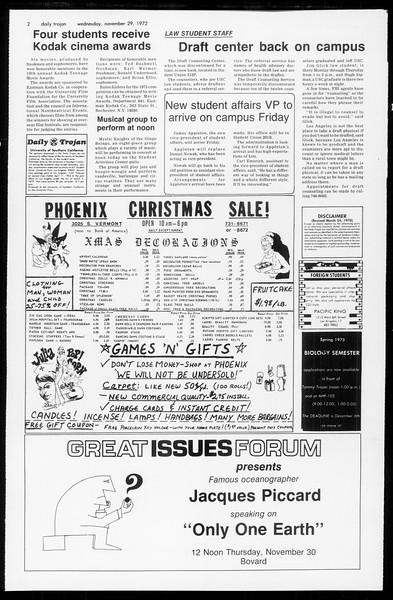Daily Trojan, Vol. 65, No. 46, November 29, 1972