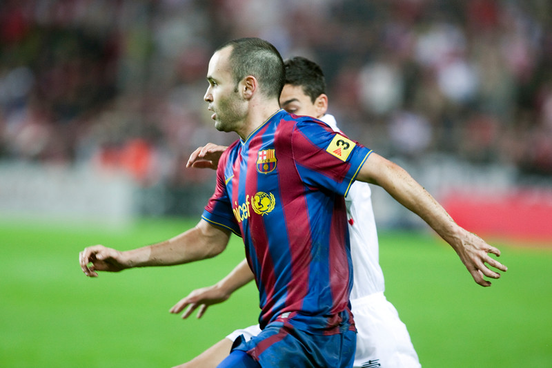 Close-up of Andres Iniesta. Spanish Cup game between Sevilla FC and FC Barcelona, Ramon Sanchez Pizjuan stadium, Seville, Spain, 13 January 2010