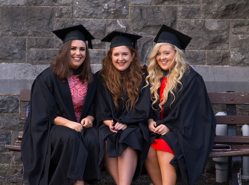 01/11/2017. Waterford Institute of Technology Conferring are Branagh Ganley, Cork, Leanne Larkin, Offaly, Eimear Carroll, Limerick who Graduated BA (Hons) in Psychology. Picture: Patrick Browne