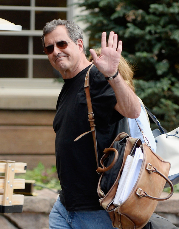 . Peter Chernin, Chairman and CEO of The Chernin Group, and his wife arrive Megan Chernin for the annual conference on July 9, 2013 in Sun Valley, Idaho. The resort will host corporate leaders for the 31th annual Allen & Co. media and technology conference where some of the wealthiest and most powerful executives in media, finance, politics and tech gather for a weeklong meetings which begins Tuesday. Past attendees included Warren Buffett, Bill Gates and Mark Zuckerberg.  (Photo by Kevork Djansezian/Getty Images)