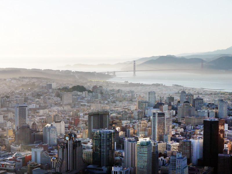 San Francisco, above Moscone Center. Golden Gate bridge in the background.