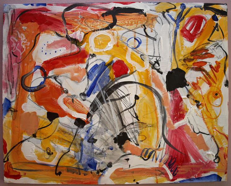 """2011, 16"""" x 20"""". Summer Sidewalk, Acrylic and pencil on canvas."""