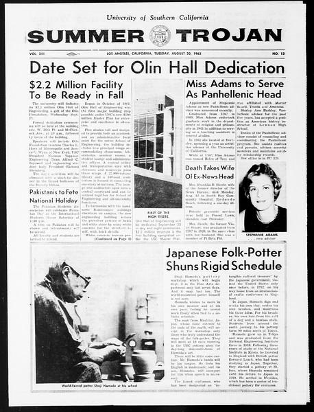 Summer Trojan, Vol. 13, No. 13, August 20, 1963