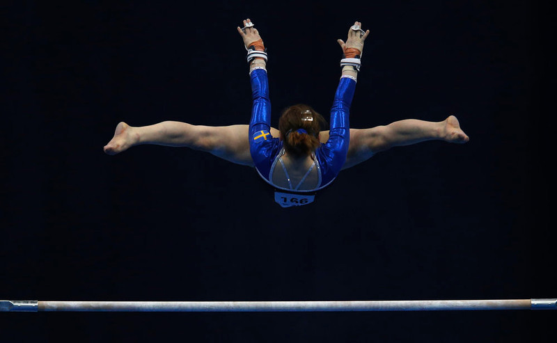 . Sweden\'s Ida Gustafsson competes on the uneven bars during the women\'s apparatus finals at the European Men\'s and Women\'s Artistic Gymnastic individual Championships in Moscow April 20, 2013.  REUTERS/Grigory Dukor
