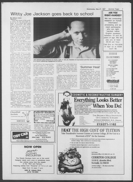 Summer Trojan, Vol. 104, No. 2, May 27, 1987