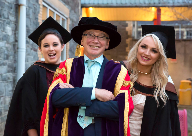 WIT (Waterford Institute of Technology) conferring ceremony at WIT College Street Campus, Waterford are Joanna O'Brien from Waterford who graduated Batchelor of Science (honours) in General Nursing, Prof Willie Donnelly President WIT and Eleanor Kirwan from Glenmore, Co Kilkenny graduated Batchelor of Science (honours) in Psychiatric Nursing. Photo; Mary Browne